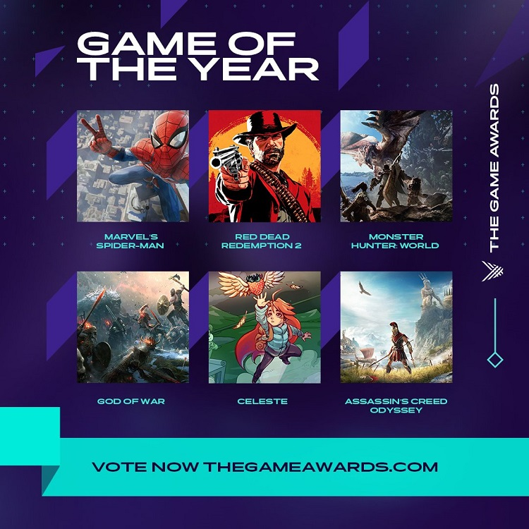 The Game Awards 2018 , Assassin's Creed Odyssey , God of War , Spider-Man , Red Dead Redemption 2 , نامزدهای The Game Awards 2018 , بازی های برتر The Game Awards 2018
